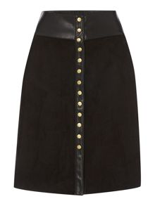 Biba Button front faux suede & leather skirt