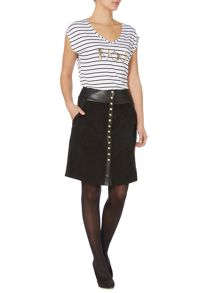 Button front faux suede & leather skirt