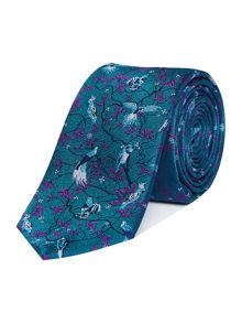 New & Lingwood Kingston Printed Floral Bird Silk Tie