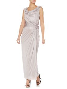 Cowl neck detail luxe maxi dress