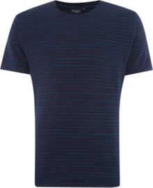 Regular fit space dye stripe crew neck t shirt