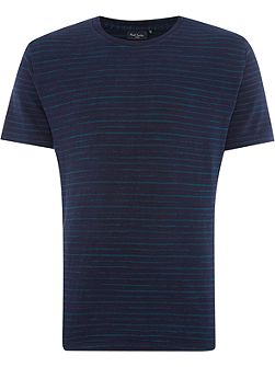 Regular fit space dye stripe crew neck t