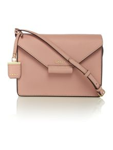 Saffiano light pink flap over cross body