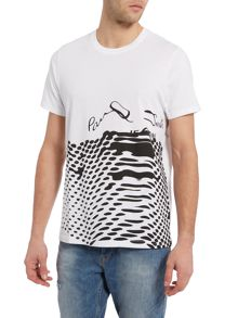 Regular fit melted logo printed t shirt