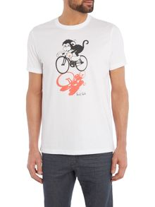 Regular fit monkey on bike printed t shirt