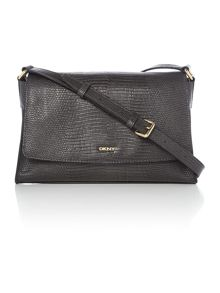 DKNY Sutton dark grey flap over cross body bag