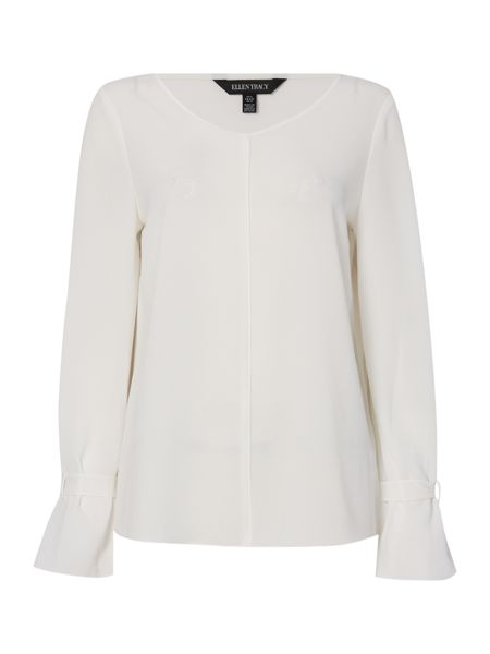 Ellen Tracy Banded cuff peasant blouse