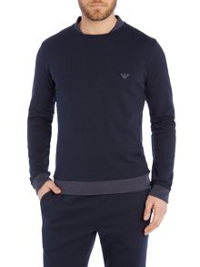 EA logo melange collar and cuff sweat