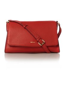 Chelsea red flap over cross body bag