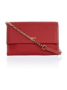 DKNY Tribeca red flap over cross body bag