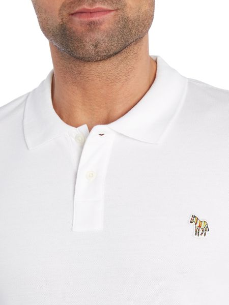 Paul Smith Jeans Regular fit long sleeve zebra logo polo shirt