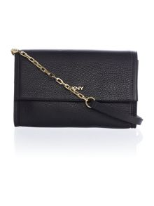 DKNY Tribeca black flap over cross body bag