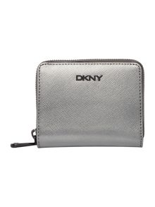 DKNY Saffiano silver small zip around purse