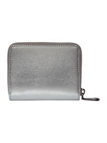 Saffiano silver small zip around purse
