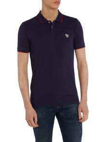 Slim fit tipped zebra logo polo shirt