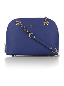 Saffiano blue small rounded cross body bag