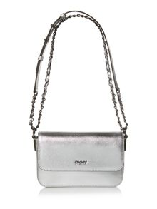 Saffiano silver small flap over cross body bag