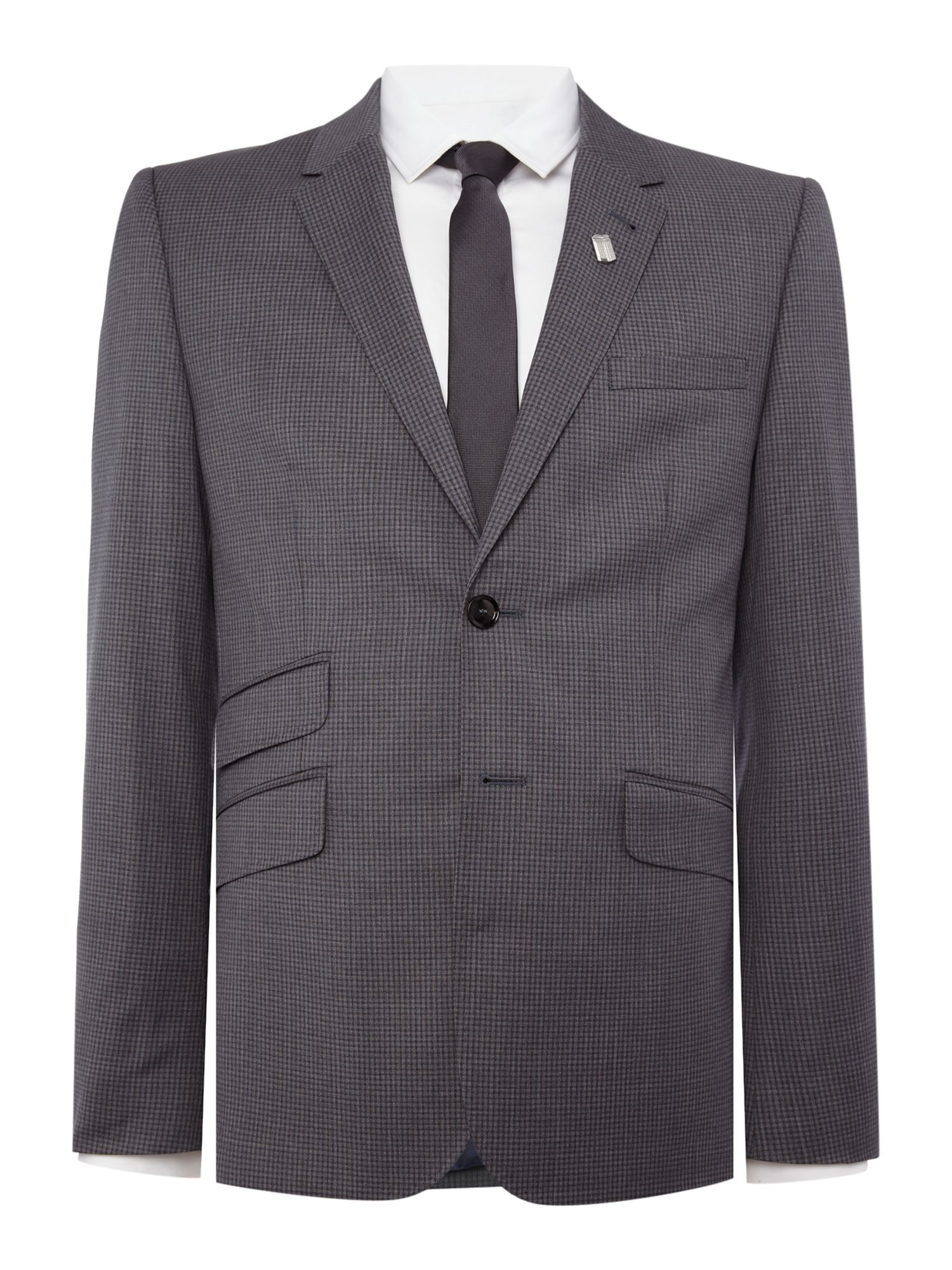 Mens Ted Baker Single Breasted Giraffe Tonal Check Suit Jacket Grey