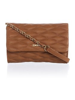 Quilted light tan small flap over cross body