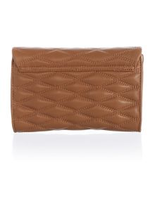 Quilted light tan small flap over cross body bag