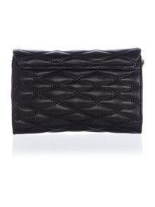 Quilted black small flap over cross body bag