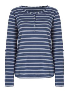 Linea Weekend LS Button Front Stripe Top
