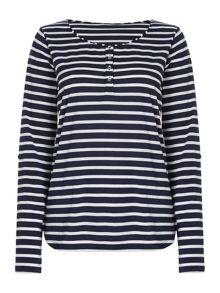 LS Button Front Stripe Top
