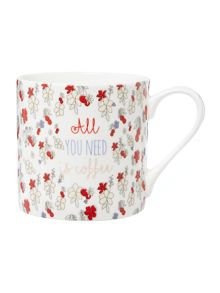 Linea Time for coffee floral mug
