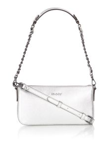 Saffiano silver small over cross body bag