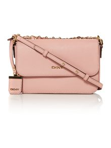 DKNY Saffiano light pink small flap over crossbody bag
