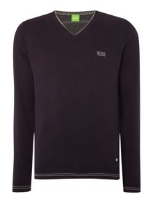 Hugo Boss Vime Regular Fit Logo Knitted V-Neck Jumper