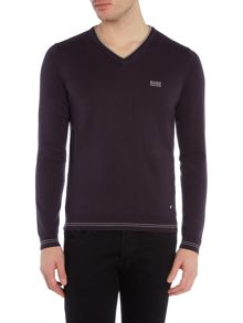 Vime Regular Fit Logo Knitted V-Neck Jumper