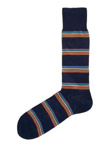 Multi-coloured block stripe socks