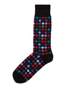 Multi-coloured polka dot socks