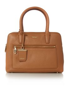 Tribeca light tan double zip satchel bag