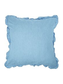 Shabby Chic Denim frill cushion