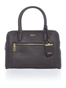 DKNY Tribeca dark grey double zip satchel bag