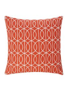 Living by Christiane Lemieux Embroidered gate cushion rust