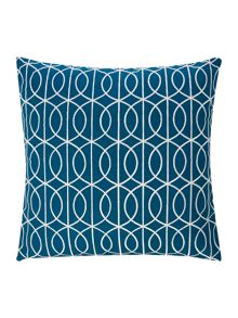 Living by Christiane Lemieux Embroidered gate cushion teal