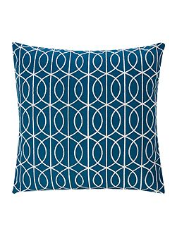 Embroidered gate cushion teal