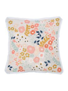 Dickins & Jones Flower embroidered cushion