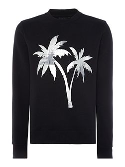 Crew neck foil palm tree print sweatshirt
