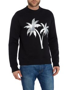 PS By Paul Smith Crew neck foil palm tree print sweatshirt