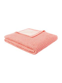 Two colour knit throw coral