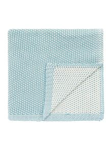 Two colour knit throw blue