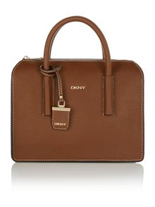 Saffiano dark tan satchel bag