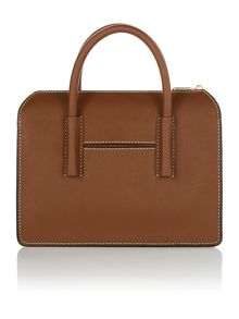 DKNY Saffiano dark tan satchel bag