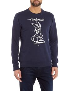 Crew neck hoptomistic rabbit print sweatshirt
