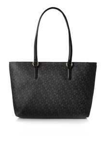 Coated logo black large tote bag