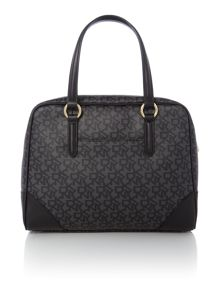 Coated logo black satchel bag